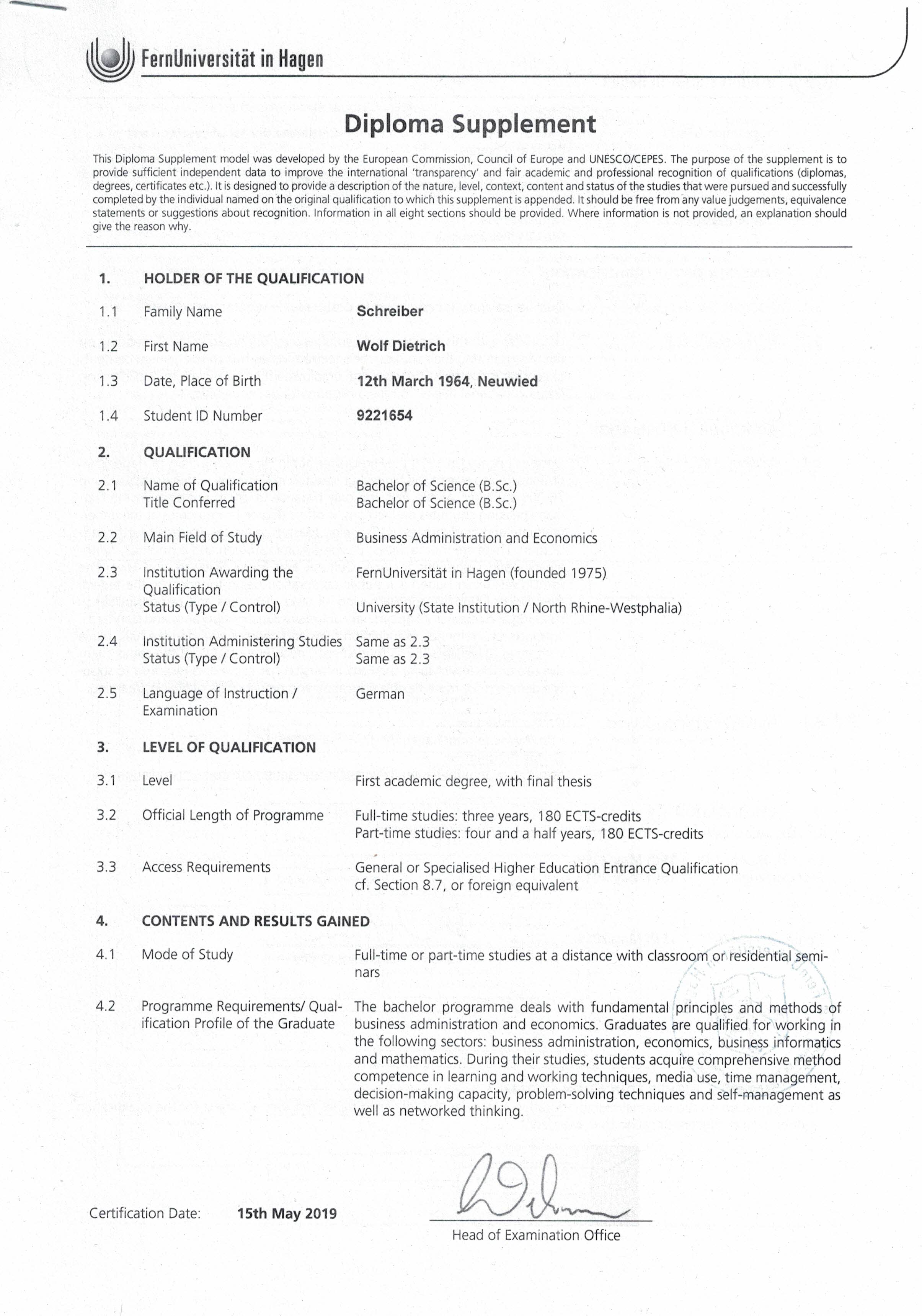 Diploma Supplement Page 1