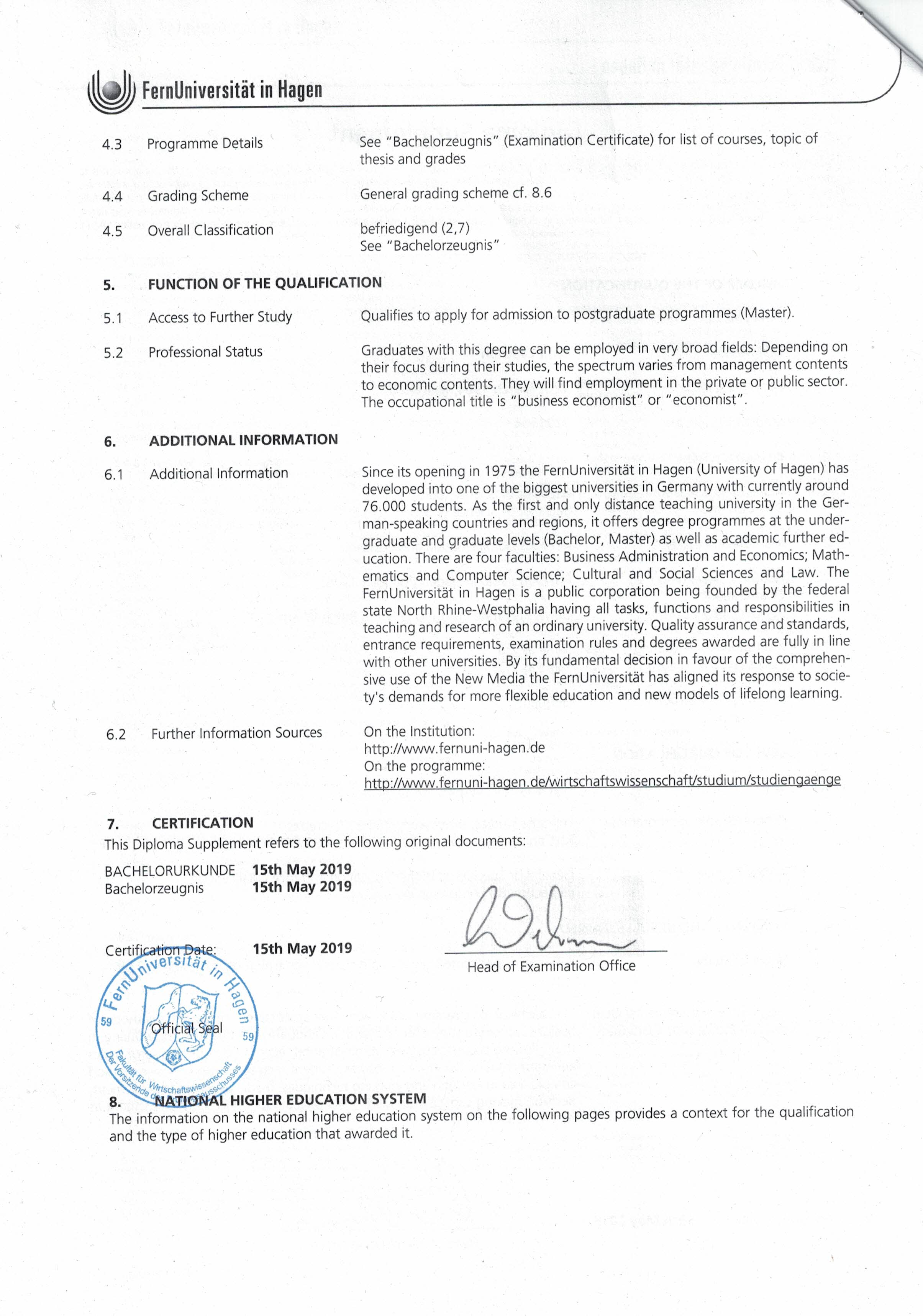 Diploma Supplement Page 2